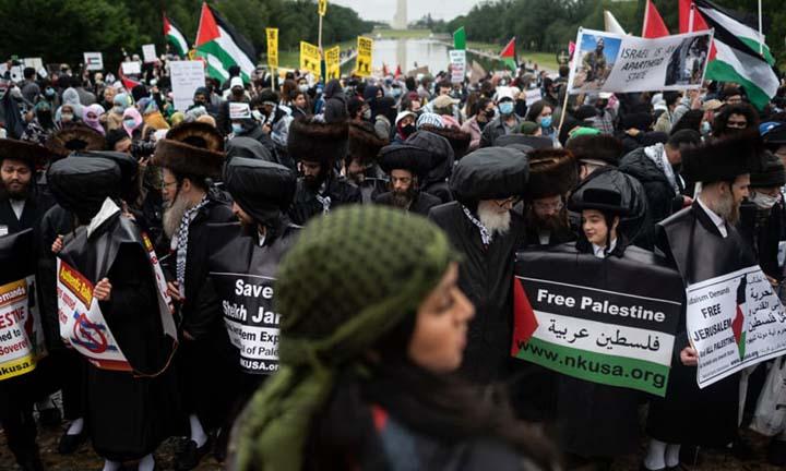 Washington rally seeks end to US aid to Israel