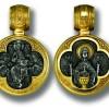 Medalion din argint aurit cu Deisis si Maica Domnului
