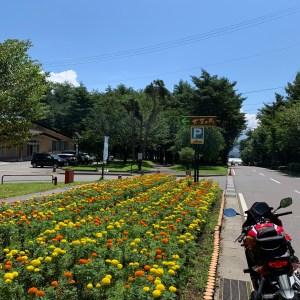 「道の駅 大芝高原」の綺麗な花とCBR650R