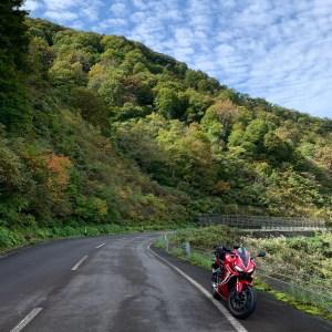 秋風景の中、三国川ダム南側沿いを走るCBR650R②