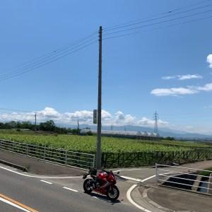 山梨県甲斐市の高台を走る気持ちいいロード沿いのフルーツ畑にてwith CBR650R