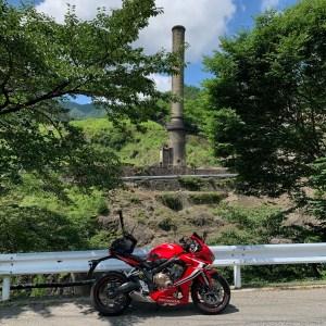 銅街道から見た足尾銅山跡地の風景with CBR650R