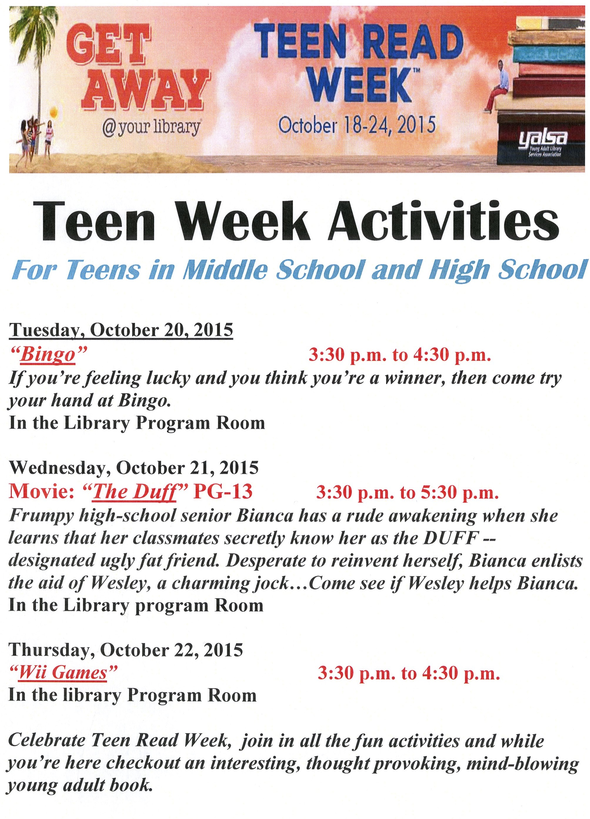Teen Week Activities