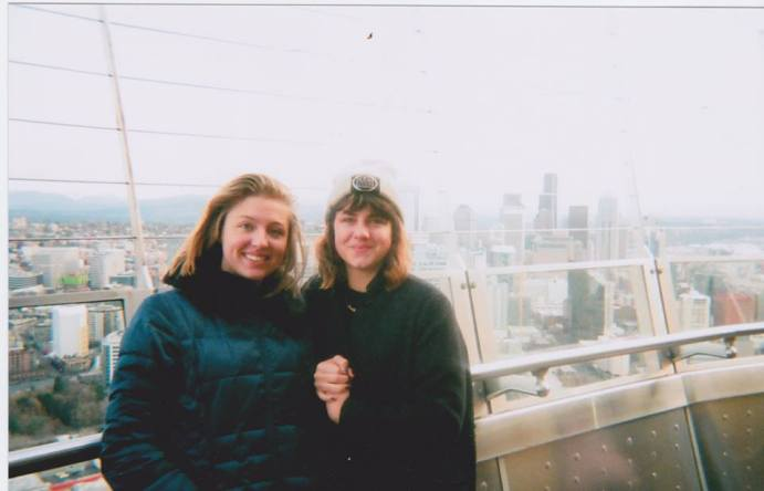 Co visiting Seattle and Vashon Island. Photo by nice person on the Space Needle