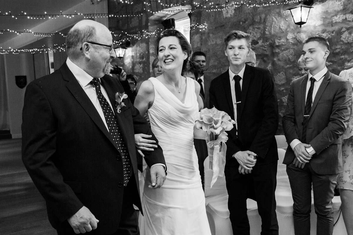 Bride and father of the bride at Culreuch Castle