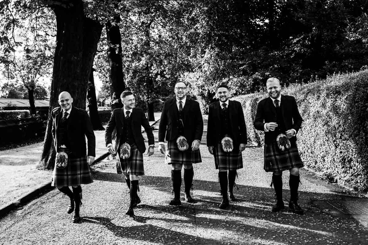 Scottish wedding photographer, Groom and kilts wedding day at The Dumbuck Hotel