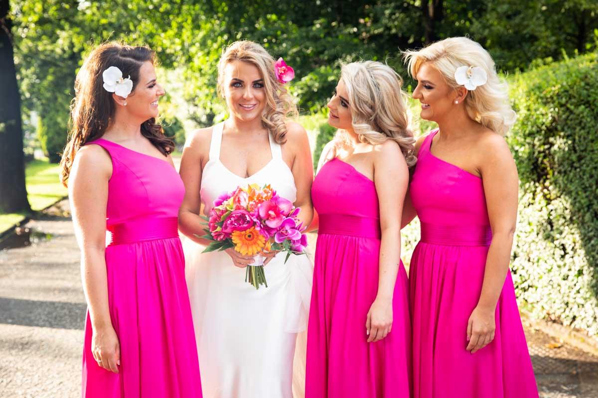 Glasgow bride squad photography, The Dumbuck Hotel wedding. Pink Vera Wang bridesmaid wedding Glasgow