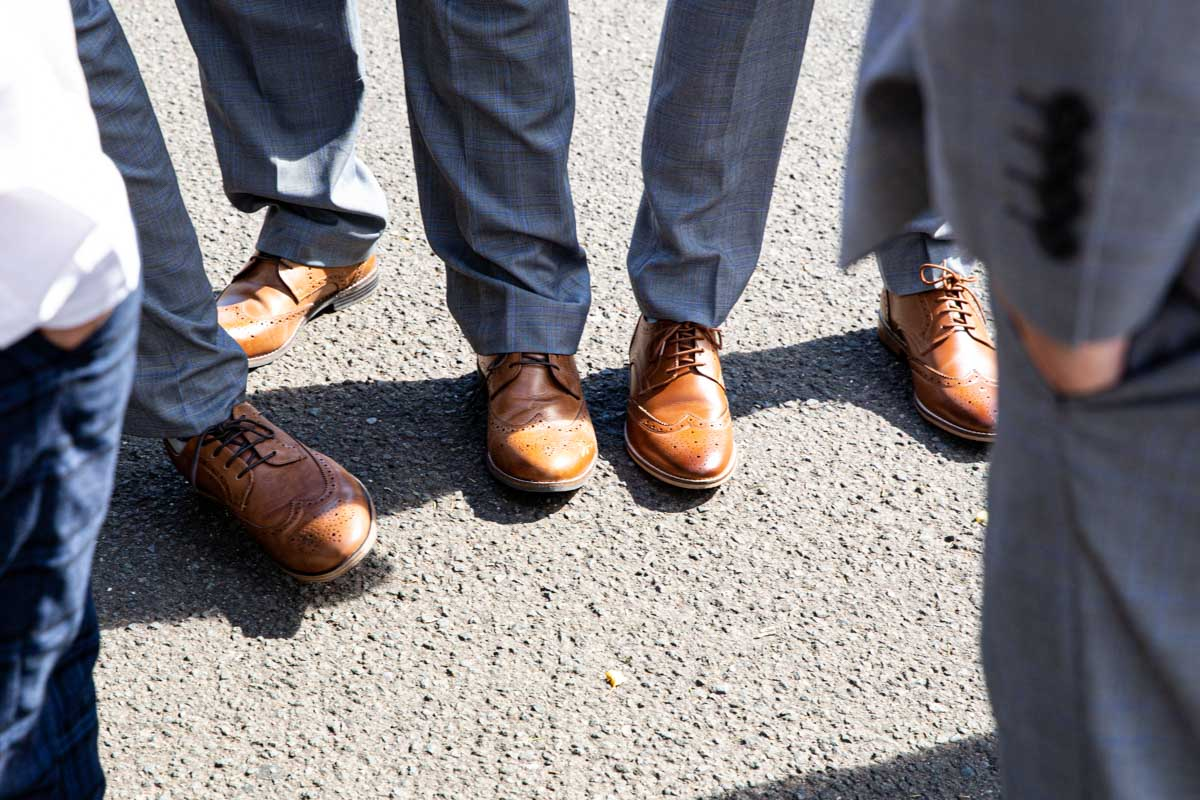 Groom and ushers shoes at MacDonald Forest Hills Hotel wedding