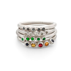5 stone granulated ring stack. Diamond (black/natural) sapphire and emerald (see individual ring for prices)