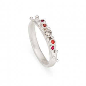 5 stone sterling silver inclusion ring with diamond, orange sapphire and ruby £400