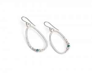 silver pebble earring with aquamarine and granulation detail £125