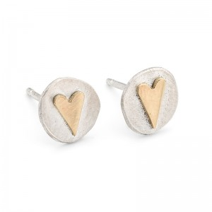 silver heart studs with 9ct gold heart £45