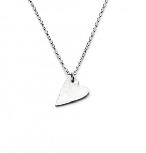 medium size hammered silver heart necklace £40