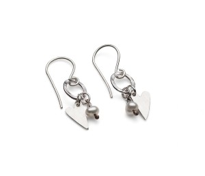 small silver heart on silver hoop earring