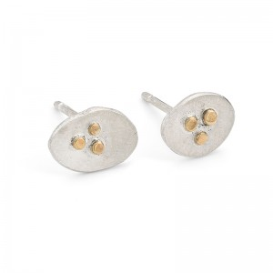 silver studs with 9 ct gold detail £40l