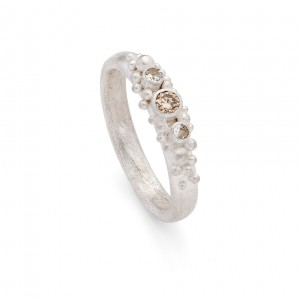 white sapphires and champagne diamond set in a sterling silver ring £415