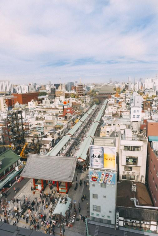 Things to Do in Asakusa | Tokyo Must See: Tokyo Skytree, Nakamise Shopping Street from Asakusa Culture Tourist Information Center | #Asakusa #Tokyo #ThingstoDoinAsakusa #TokyoSkytree #AsahiBeerTower #NakamiseStreet #NakamiseDori