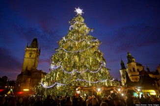 PRAGUE, CZECH REPUBLIC - DECEMBER 02: A christmas tree stands at the Christmas market at the Old Town Square on December 2, 2013 in Prague, Czech Republic. Christmas markets, traditionally selling mulled wine, roasted chestnuts, hot mead, and christmas tree decorations, amongst other products, opened across the Czech Republic during the first Advent weekend. (Photo by Matej Divizna/Getty Images)