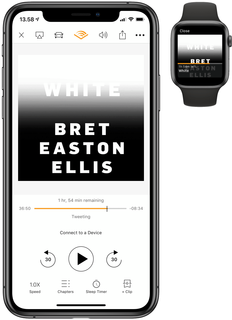 Audible på iPhone og Apple Watch