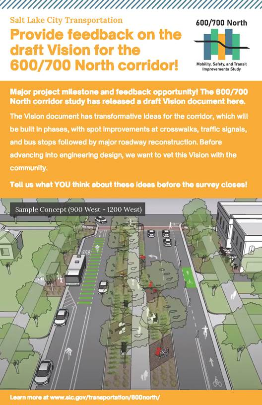 """Featured image for """"Provide feedback on the draft Vision for the 600/700 North corridor!"""""""