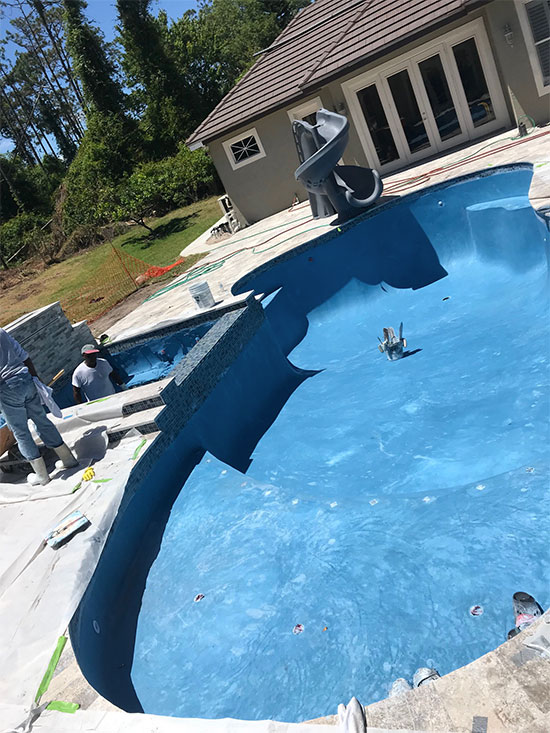 Quartzscapes regular series midnight blue quartz pool finish creates dark blue water color and is comprised of midnight blue pigmented white portland cement. New Pool Finish Lake Mary Florida