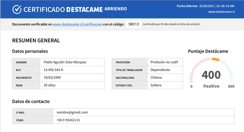 El nuevo certificado de arriendo de Destácame en Chile