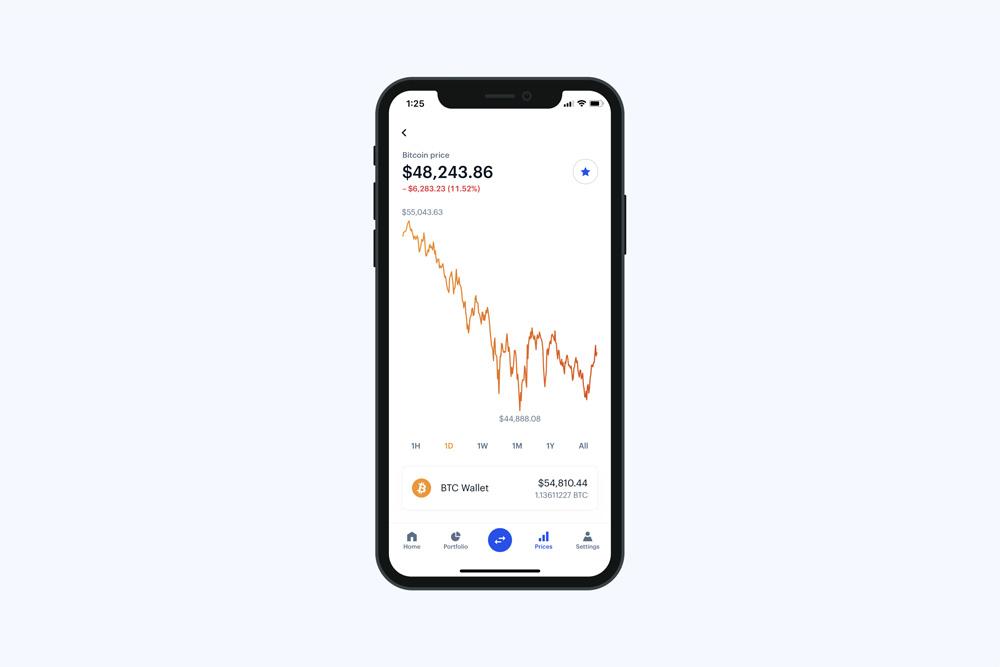 La aplicación de Coinbase para comprar y vender criptomonedas