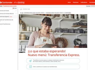 Office Banking de Banco Santander incorporó transferencias express