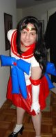 Shok dressed as a PVC version of the anime character Sailor Mars