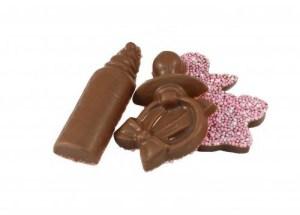 Overige Geboorte Chocolade Figuurtjes Roze 10 stuks