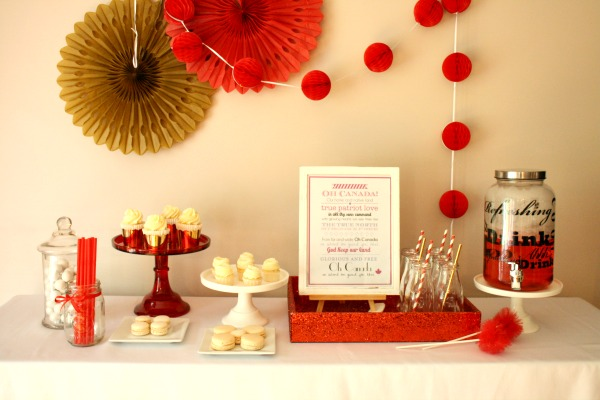 sweet table, red and white, canada day