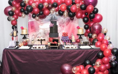 Black Red Purple sweet table