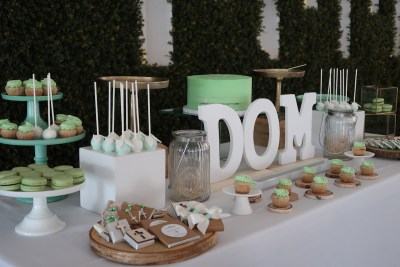 mint green and white baptism sweet table