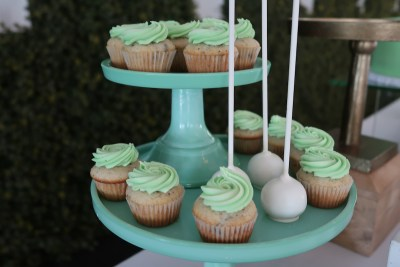 mint green and white batism sweet table - 05