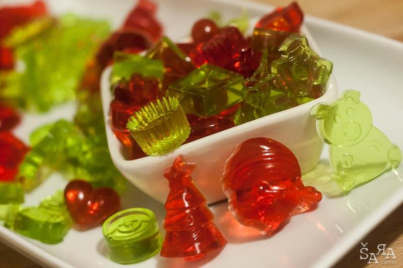 Gomas de gelatina caseiras sem açúcar
