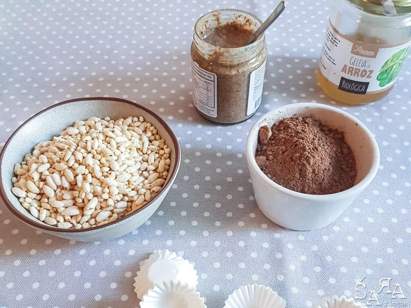Ingredientes para Chocolates de arroz puff