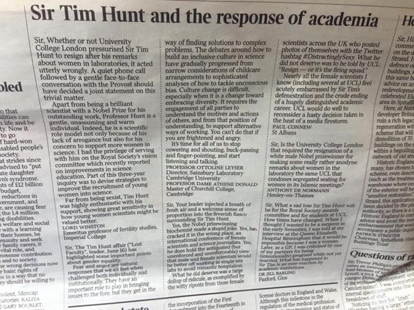 Sir Tim Times letter