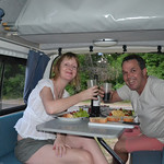 Our first meal in the camper at Torquay