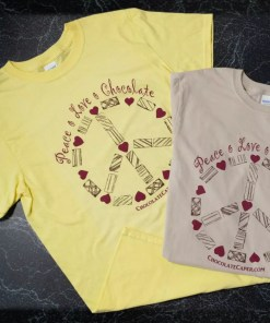 Sandstone and yellow t-shirts with the words