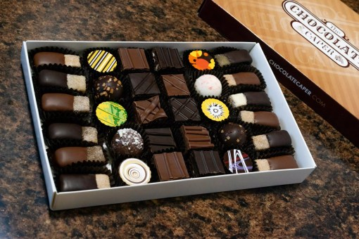 A large deluxe wine-lovers seasonal assortment containing 10 1/2 pieces of praline, 10 truffles and 10 gels