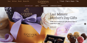 Luxury packaging is typical of imagery seen on http://www.godiva.com/