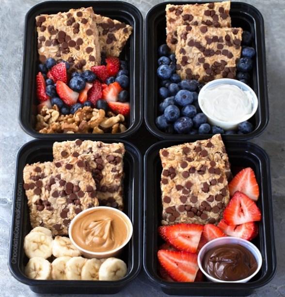 Breakfast Meal Prep Oatmeal Bars 4 Ways