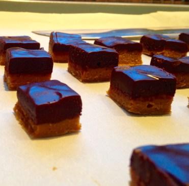 Two-layer chocolate ganache truffle centers
