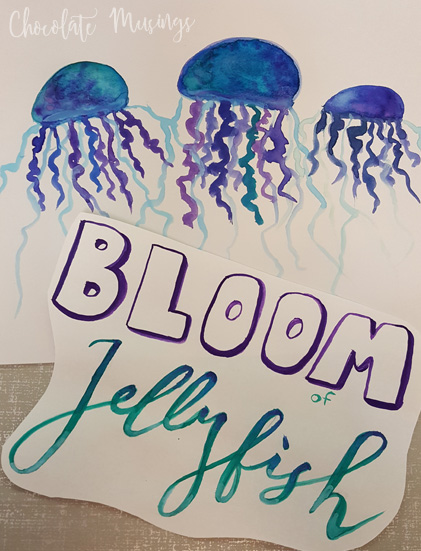 Bloom of Jellyfish - one of my favorite challenge prompts. I particularly like the font for Jellyfish.