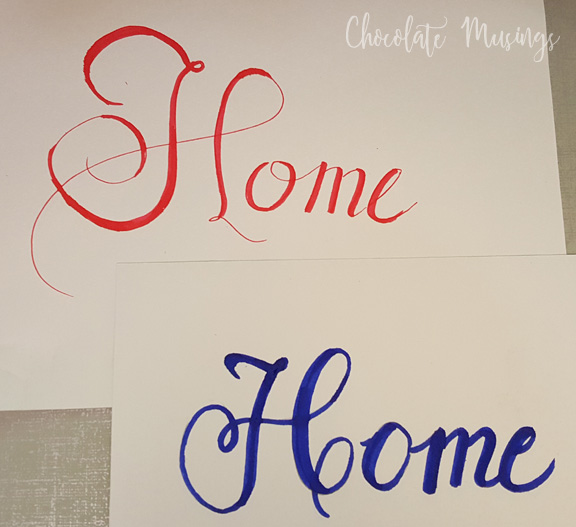 "Writing the word ""Home"" in different fonts. Working on technique"