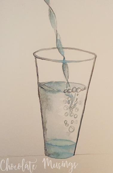 Watercolor water in a clear glass