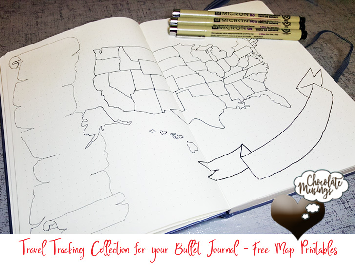 United States (US) Bullet Journal Collection Map Spread