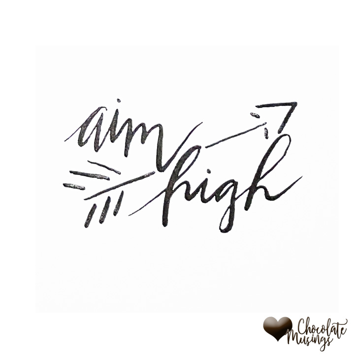 Aim High quote, Arrow doodle