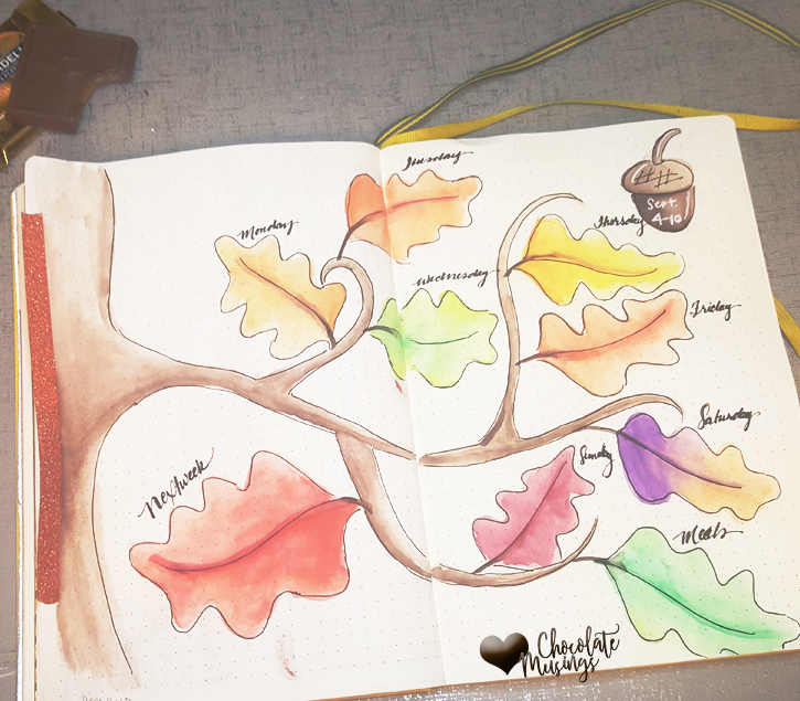 Autumn leaves sketch for the weekly planner spread in my bullet journal. I can't get enough of September and Fall.