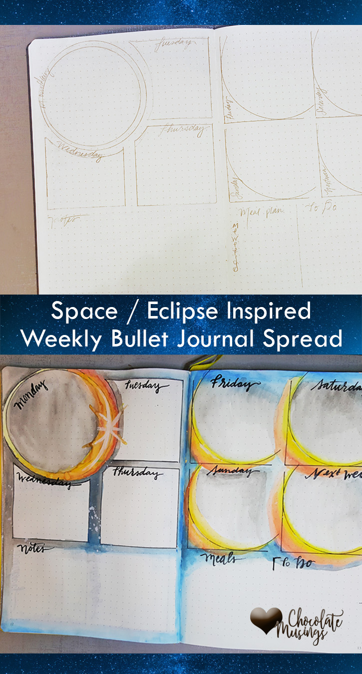 Space or Eclipse themed weekly spread for bullet journal layouts